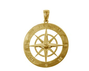 High Polish 10K Yellow Gold Charm Pendant 3-D Nautical Anchor