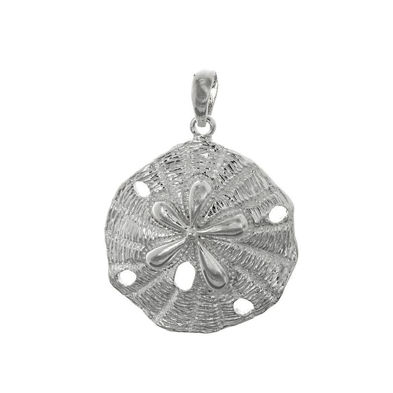 5.1 grams Textured Beveled Sand Dollar Million Charms 925 Sterling Silver Nautical Charm