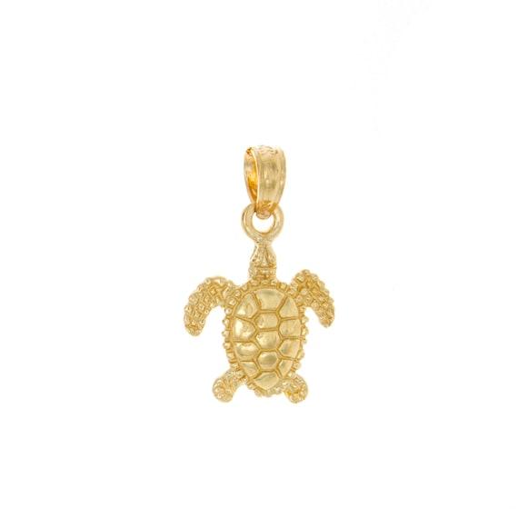 Fine 14k Gold Sea Turtle Charm Pendant Necklace
