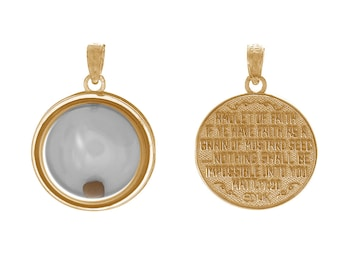 Million Charms 14k Yellow Gold Religious Charm Pendant, 3-D Mustard Seed Dome If Ye Have Faith, Movable