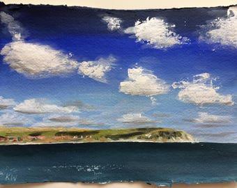 Deep blue Swanage bay original painting - original art / landscape painting / acrylic painting / seascape / blue