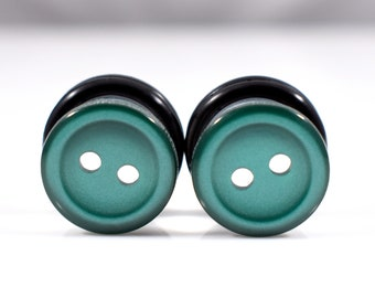 Dark Green Button Plugs - Available in 2g, 0g, and 00g