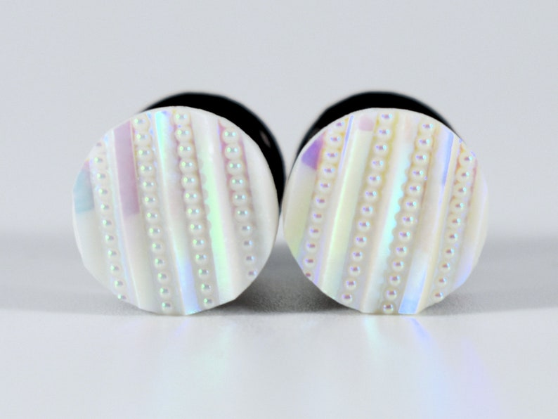 Plug Earrings White Stripes and Spots Plugs 4g 2g 0g and 00g