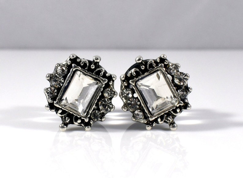 00g Gauges and 12in Available in 0g 716in Plugs Pretty Silver Vintage Framed Rectangle Rhinestone Plugs