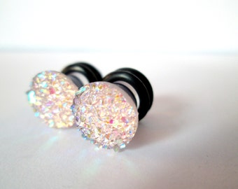 Pale Pink Sparkle Druzy Plugs - Available in 4g, 2g, and 0g