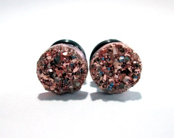 Rose Gold Sparkle Druzy Plugs - Available in 2g, 0g, and 00g
