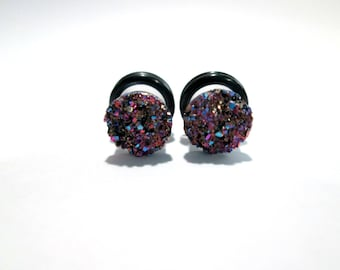 Purple and Gold Druzy Sparkle Plugs - Available in 4g, 2g, 0g