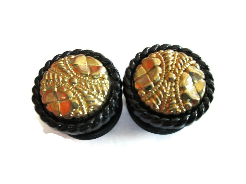 classy Black and Gold Plug Earrings Fancy 916 in and 58 in. vintage button plugs 12 in