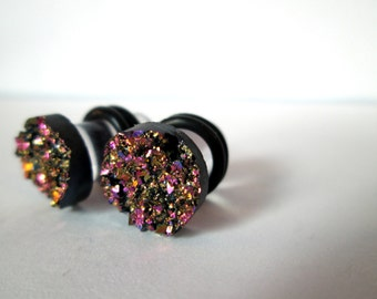 Purple Gold Sparkle Druzy Plugs - Available in 2g, 0g, and 00g