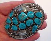 Kingman Turquoise Huge Vintage Navajo Belt Buckle Sterling Silver Native American Arizona Sky Blue Turquoise Signed CH Fabulous