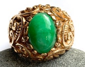 Exceptional Jade Ring, Man 39 s Ring, Apple Green Jadeite Jade, Heavy Custom-Made Mounting, Ornate Scroll Design, 1960 39 s, 14K Yellow Gold