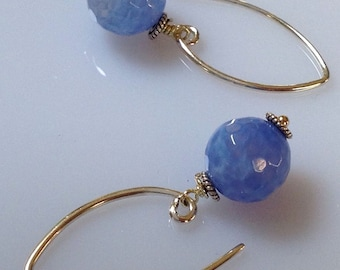 Cornflower Blue Agate  Sterling Silver Dangle Earrings