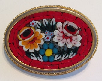 Cheerful Red Vintage Italian Micro Mosaic Brooch with Colorful Flowers