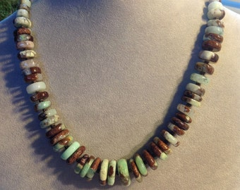 Mint and Brown Chrysoprase and Sterling Silver Necklace