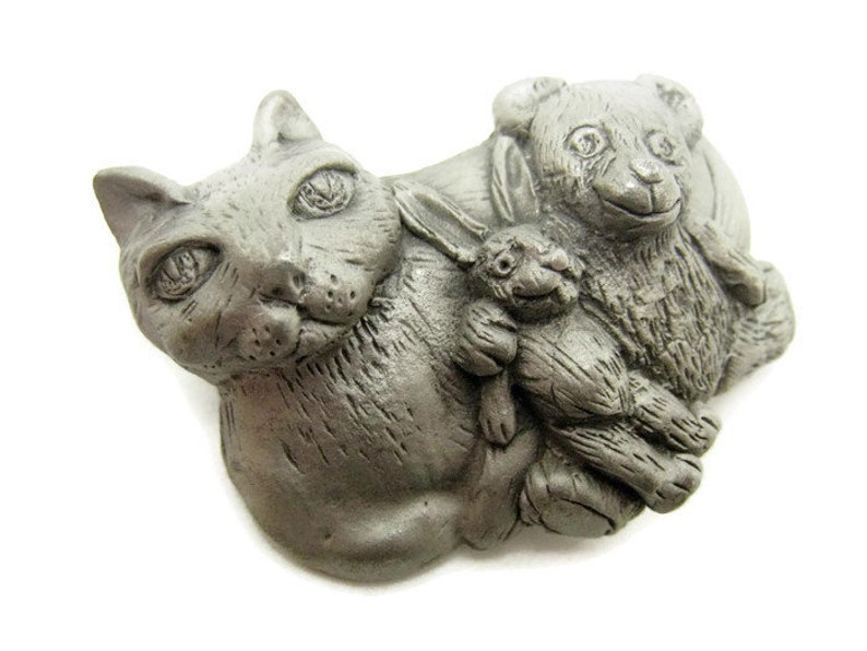 Vintage 90 year style jj artifact cat cat brooch with teddy bear and rabbit