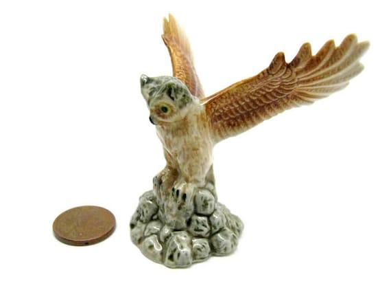 Owl Duke Miniature Porcelain Vintage 90s Owl Wings Open Etsy