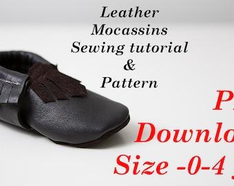 PDF PATTERN Leather Mocassins 0-4 yrs