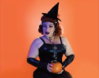 """Halloween Pinup Pumpkin Witch // Lady Zombie Poster // 11"""" x 17"""" // Glossy Photo Print"""