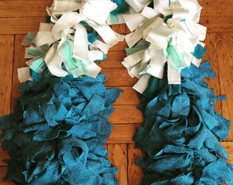 Tattered Fabric Boa // Garland // Bohemian, Burlesque, Tea Party // Fashion Accessory // Blue, White // Zombiesque Creations #20