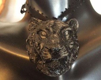 Visage of Dark Liger // Hand Carved Cat Pendant // Lioness, Lion, Tigress, Tiger // Therianthrope Amulet