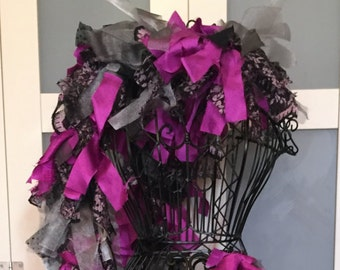 Mommy & Me // Tattered Fabric Boa // Garland // Gothic, Glamour // Fashion Accessory // Silver, Black, Purple // Zombiesque Creations #15/16
