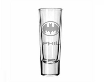 Personalised BATMAN engraved glases for Birthday,Christmas PRESENT gift#170