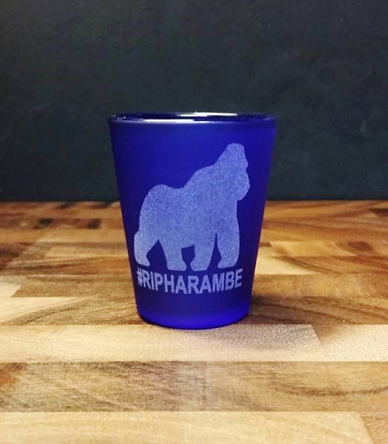 #RIPHarambe Harambe Etched Shot Glass Gorilla Shots for Harambe Memorial RIP Harambe Shot Glass