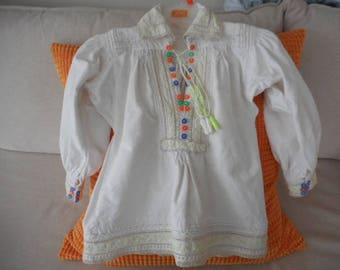 Antique hand made embroided Romanian Transilvania blouse for children 3- 6 months old/ Summer gift / Fashion gift/ Antique Blouse