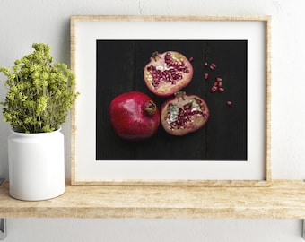 pomegranate v. three //  food photography print // kitchen decor // dining room // minimalist art print // rustic farmhouse wall art