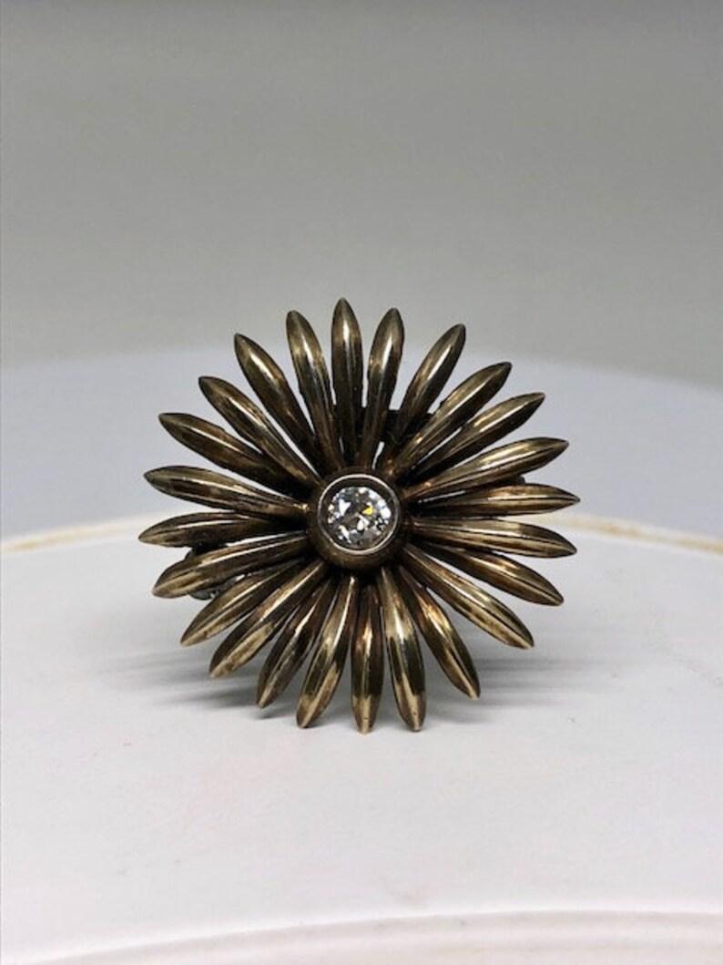 Vintage Symmetalic Sterling /& 14k .22 ct.Old European Cut Diamond Flower Pin