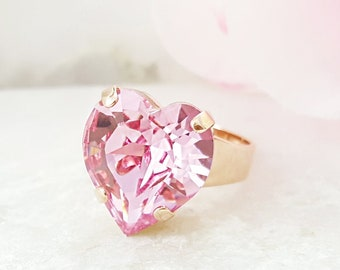 e853bfe3f Pink Heart Ring Rose Gold, Swarovski Crystal Jewelry, Light Rose  Rhinestone, Big Chunky Promise Ring for Her, Tourmaline Birthstone R4001