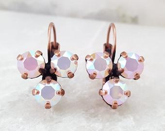 Pink Opal Earrings - Pink Crystal Earrings - Rose Quartz Earrings - Copper Crystal Earrings - Pink Rhinestone Jewelry - Three Stone E3967