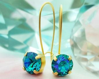 Sapphire Gold Earrings - Blue Green Sapphire Earrings - Swarovski Crystal Drop Earrings - Blue Zircon Jewelry - Caribbean Blue Crystal E3446