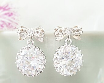 f5d8b2f84 Round Wedding Earrings, Clear Crystal Drops, Dangle Drop, Cubic Zirconia  Bridal Jewelry Gifts for Her, CZ Droplets for Bridesmaid Gift E2096