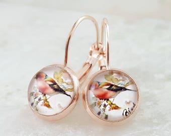 Rose Gold Bird Earrings - Bird Jewelry - Bird Earrings Dangle - Birdwatcher Gift Bird Watcher - Finch Earrings - Bird Lover Gift E6400