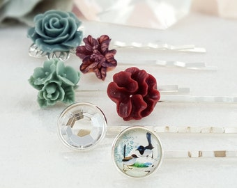 Cream Bridal Sakura Hair Pin H4190 Slate Blue Hairpins Mint Blue Lotus Blossom Creamy Yellow Rose Hair Clip Turquoise Bobby Pin Set of 6