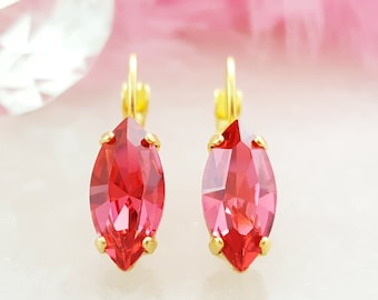 Swarovski Crystal Earrings - Fuchsia Rhinestone Earrings - Hot Pink Dangle Earrings - Dark Pink Earrings - Magenta Pink Tourmaline E3378