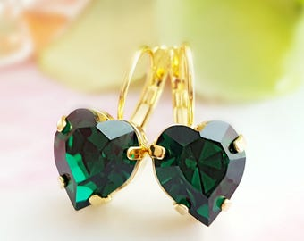 Emerald Heart Earrings - Crystal Heart Earrings - Romantic Earrings - Green Earrings - Heart Drop Earrings Gold - May Birthstone Gift E3305