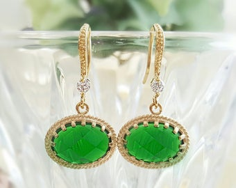 Emerald Crystal Earrings - Green Drop Earrings - May Birthstone Jewelry - Christmas Earrings Gold - Emerald Green Long Dangle Earrings E2450