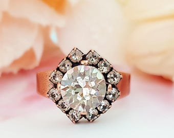 Clear Crystal Ring - Swarovski Crystal Ring - Copper Ring with Stone - Clear Rhinestone Jewelry - Diamond Ring Adjustable Copper Ring R6000