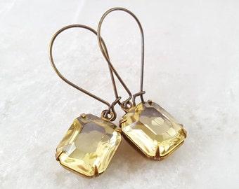 Light Yellow Crystal Earrings - Swarovski Jonquil Yellow Earrings - Art Nouveau Earring Bronze - Vintage Style Rhinestone Drop Earring E1363