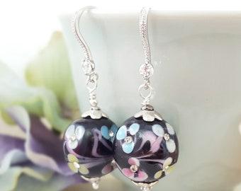 Crystal Flower Earrings Glass - Lampwork Earrings - Multicolor Earrings - Crystal Flower Earrings - Black Earrings Rhinestone E4011