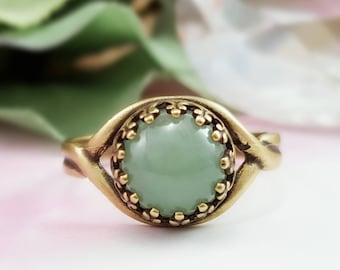 Aventurine Ring - Jade Green Ring - Genuine Gemstone Ring - Bronze Stacking Ring - Green Gemstone Ring - Jade Ring Green Boho Jewelry R5018