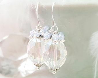 Cornflower Blue Earrings Silver - Clear Crystal Dangle Drop Earrings - Periwinkle Blue Earrings Opal Cluster - Baby Blue Oval Earrings E1294