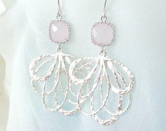 Pink Opal Earrings Rose Quartz Silver - Light Pink Crystal Dangle Earrings Ribbon - Pastel Pink Bridesmaid Ballerina Prom Jewelry E1498