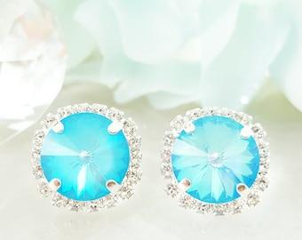 Neon Blue Apatite Earrings - Swarovski Crystal Cluster Earrings - Big Crystal Earrings Cluster Statement - Blue Stud Earrings Silver E3430
