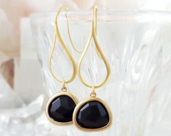Black Crystal Earrings - Black Glass Earrings - Jet Rhinestone Jewelry - Matte Gold Dangle Earrings - Black Gold Teardrop Earrings E2516