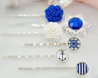 Decorative Hair Slides White Rose Hairpins Blue Floral Hair Piece Gift H4130 Blue Bobby Pin Set Nautical Hair Clips Striped Hair Pick