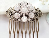 CRYSTAL WEDDING HAIRPIECE, Clear Rhinestone Side Hair Comb, Big Sparkly Slide Victorian Brass Hair Piece Vintage Bridal Proposal Gift H2049A