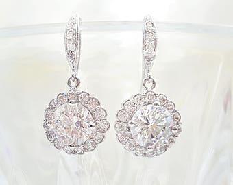 Silver CZ Earrings, Round Flower Cubic Zirconia Bride Jewelry, Engagement Gift, LUX Prom Earrings, Diamond Anniversary, Swarovski, E2017